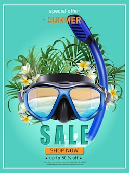 Summer sale banner with diving mack and tropical flowers and plants