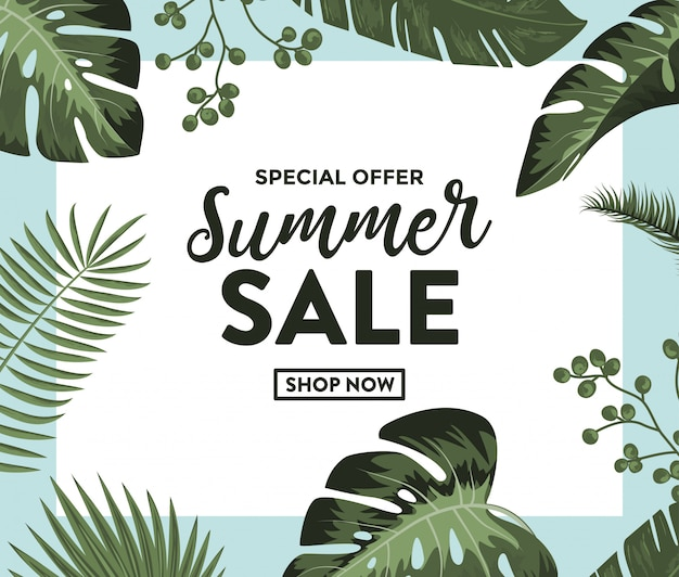Summer sale banner with exotic jungle plants