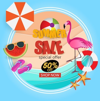 Summer sale banner with flamingo.