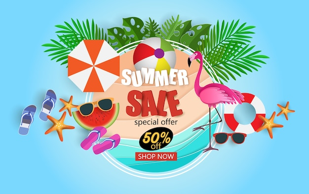 Summer sale banner with flamingo
