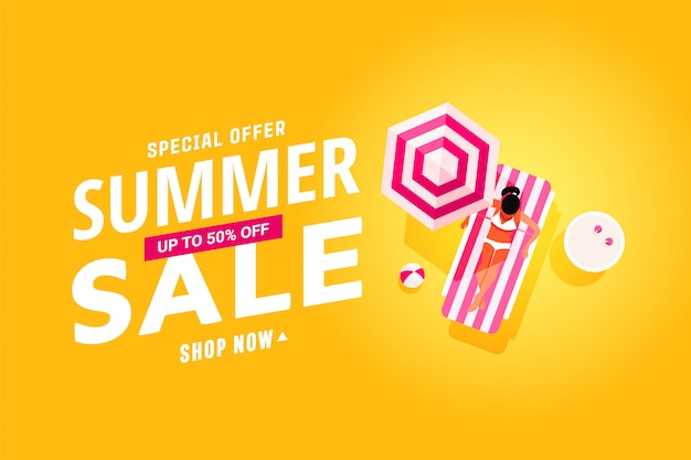 Summer sale banner with flat design of resting people in the pool, travel and vacations