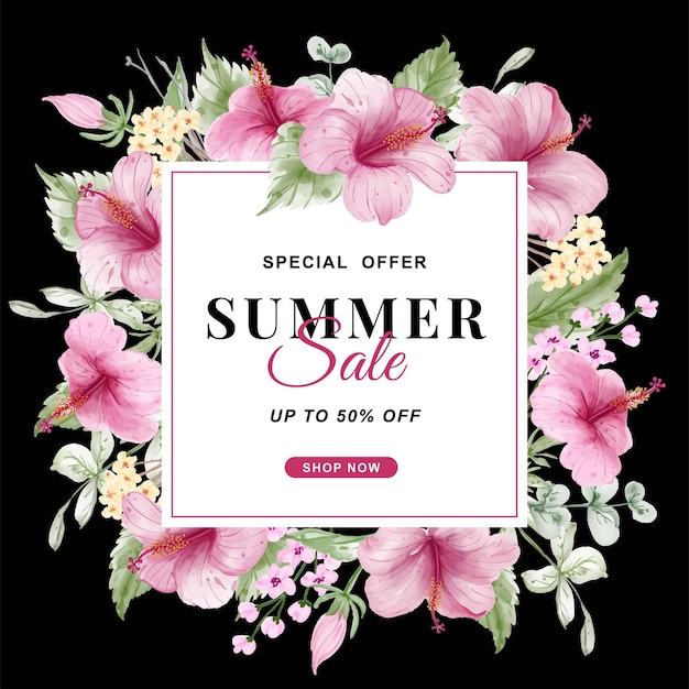Summer sale banner with flower hibiscus watercolor