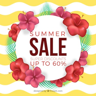 Summer sale banner with flowers on a waves background