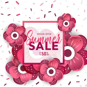 Summer sale banner with flowers for online shopping