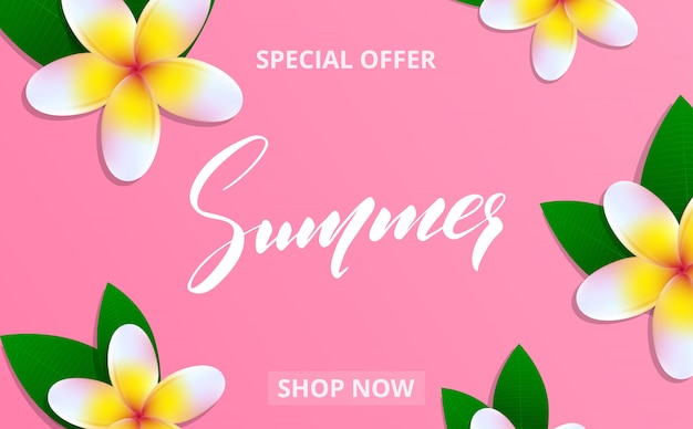 Summer sale banner with frangipani flowers and lettering summer for promotion, discount, sale, web.