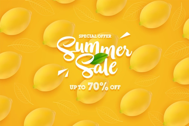 Summer sale banner with fresh yellow lemons background
