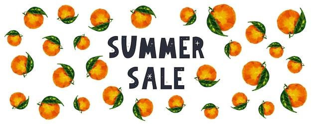 Summer sale banner with fruits orange letter vector