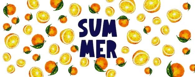 Летняя распродажа баннер с фруктами оранжевая буква