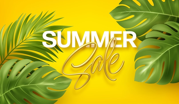 Summer sale banner with gold lettering with tropical realistic monstera and palm leaves.