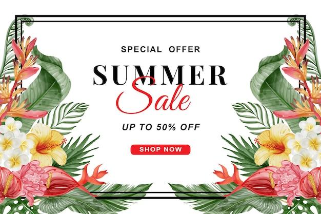 녹지 열 대 잎과 꽃 수채화와 여름 판매 배너