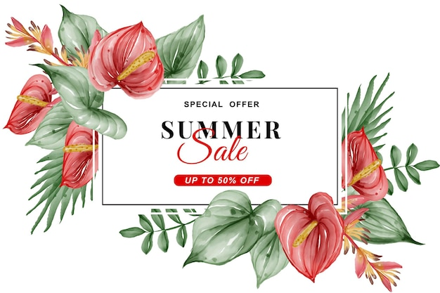 Summer sale banner with greenery tropical leaf and anthurium watercolor