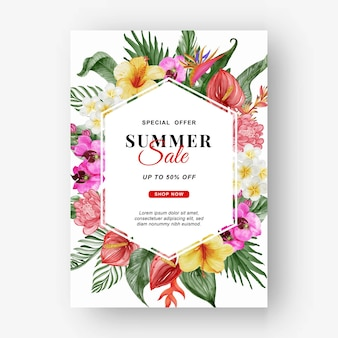 Summer sale banner with greenery tropical leaf and flower watercolor