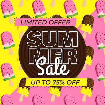 Summer sale banner with ice cream
