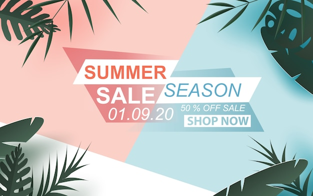 Summer sale banner with label text