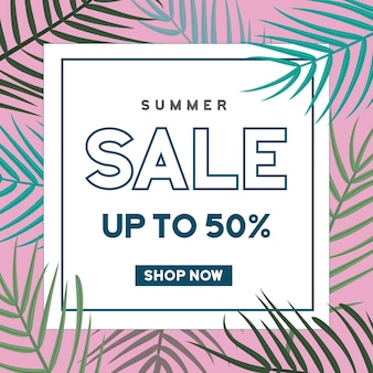 Summer sale banner with leaves background