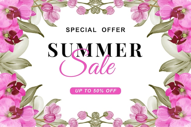 Summer sale banner with orchid pink watercolor