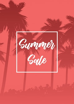 Summer sale banner with palm tree silhouettes