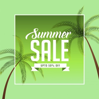 Summer sale banner with palm tree