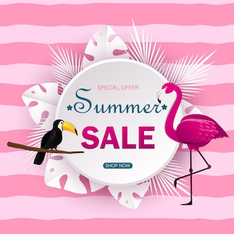 Summer sale banner with paper cut flamingo and tropical leaves background, exotic floral design for banner, flyer, invitation, poster, web site or greeting card. paper cut style, illustration