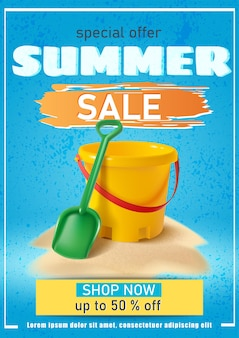 Summer sale banner with sand yellow bucket and spade