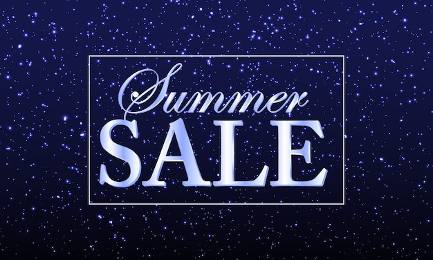 Summer sale banner with shining confetti or glittering particles