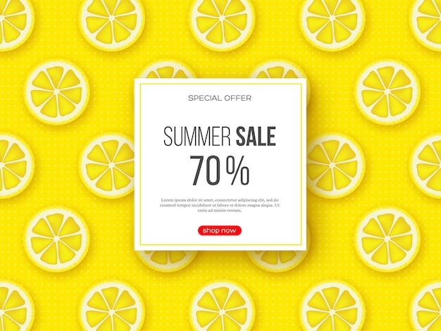レモンのスライス部分とドットパターンの夏のセールのバナー。黄色の背景-季節割引のテンプレート