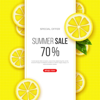 Summer sale banner with sliced lemon pieces, leaves and dotted pattern. yellow background - template for seasonal discounts
