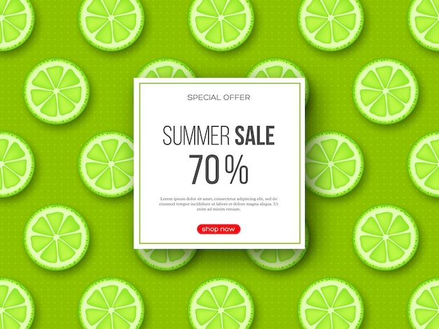 Summer sale banner with sliced lime pieces and dotted pattern. green background - template for seasonal discounts