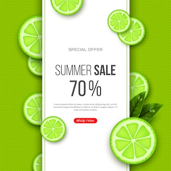 Summer sale banner with sliced lime pieces, leaves and dotted pattern. green background - template for seasonal discounts