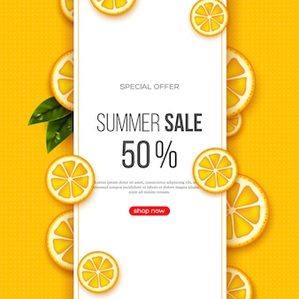 Summer sale banner with sliced orange pieces, leaves and dotted pattern. yellow background - template for seasonal discounts