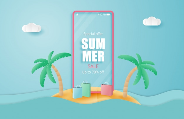 Summer sale banner with smartphone on island in paper cut style. illustration holiday sale.