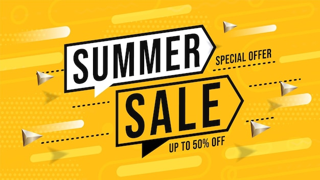 Summer sale banner with special offer up to 50 percent off.