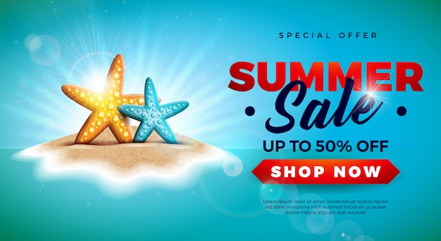 Summer sale banner with starfish on tropical island