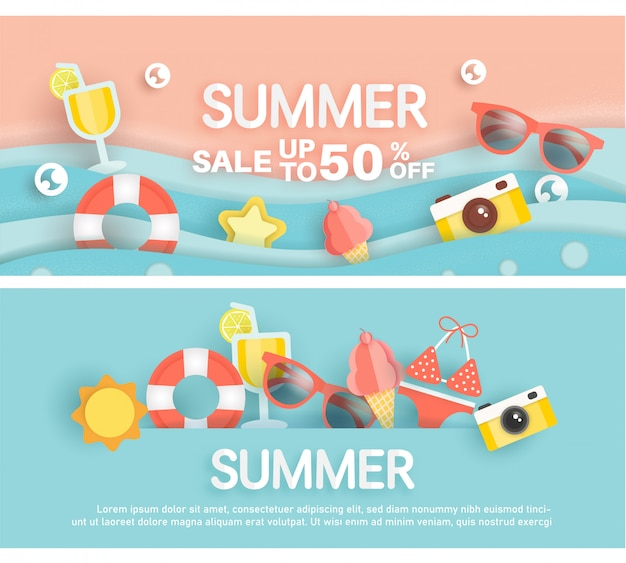 Summer sale banner with summer element in paper cut style
