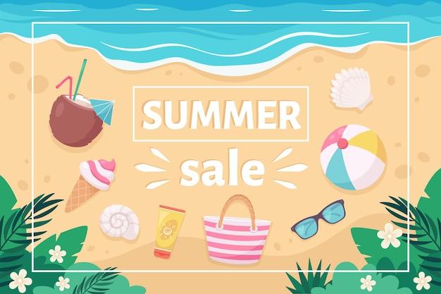 Летняя распродажа баннер с летними элементами