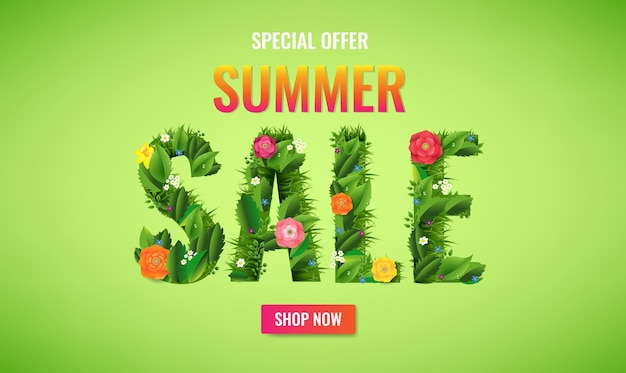 Летняя распродажа баннер с текстом и цветами