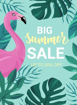 Summer sale banner with tropic leaves, flamingo. good for sale flyers, cards, advertising, promo poster, web templates. hand lettering word