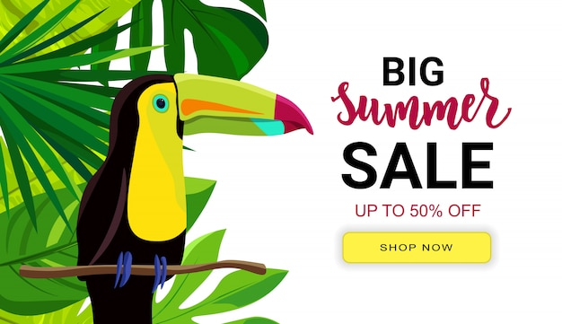 Summer sale banner with tropic leaves and pink flamingo. hand lettering text. season vacation, weekend, holiday logo.