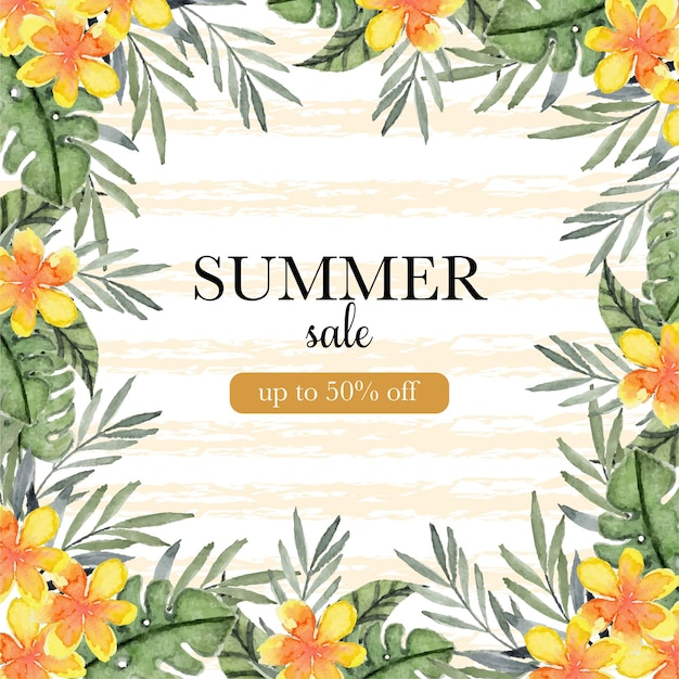 Летняя распродажа баннер с тропическими цветами и листвой