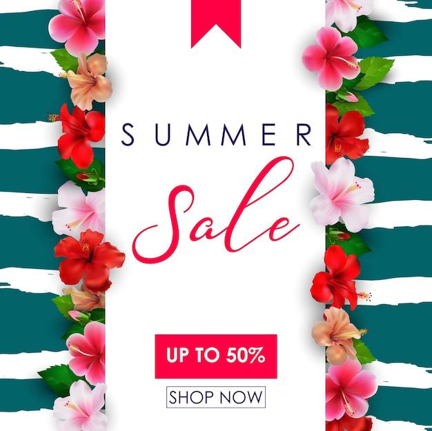 열 대 꽃 배경으로 여름 판매 배너