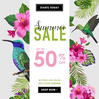 Summer sale banner with tropical flowers