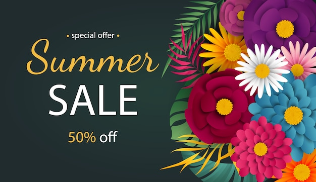 Summer sale banner with tropical flowers.