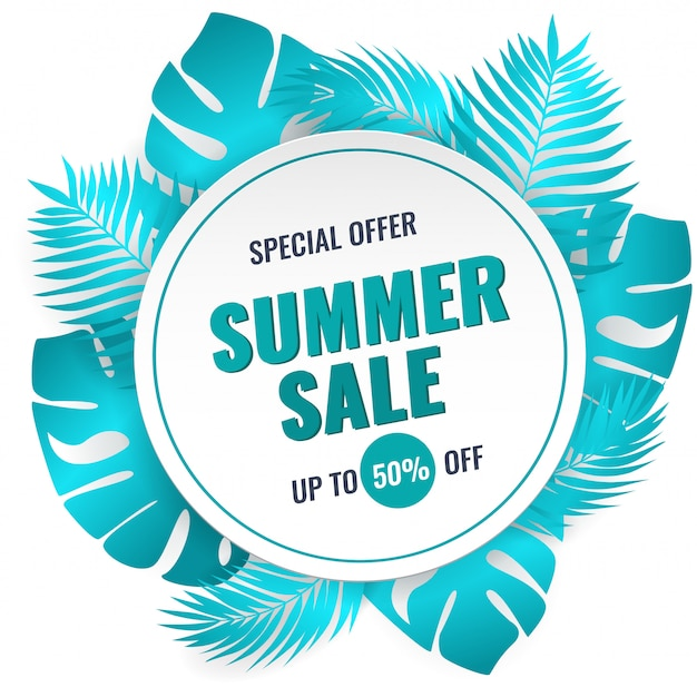 Summer sale banner with tropical leaves. ad concept.