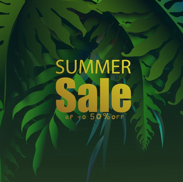 Summer sale banner with  tropical leaves, exotic tropical leaves design