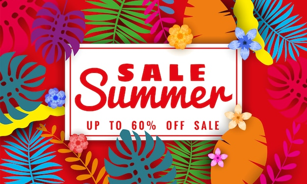 Summer sale banner with tropical leaves floral