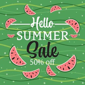 Летняя распродажа баннер с тропическими листьями привет лето абстрактная иллюстрация