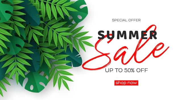 열 대 야자수 잎 여름 판매 배너