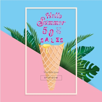 Summer sale banner with tropical palm