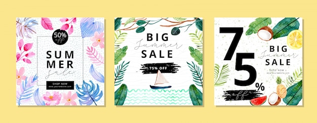 Summer sale banner with tropical plant watercolor background