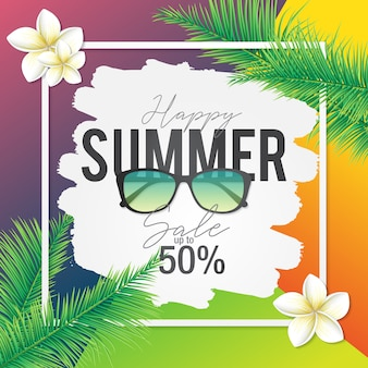 Summer sale banner with tropical template